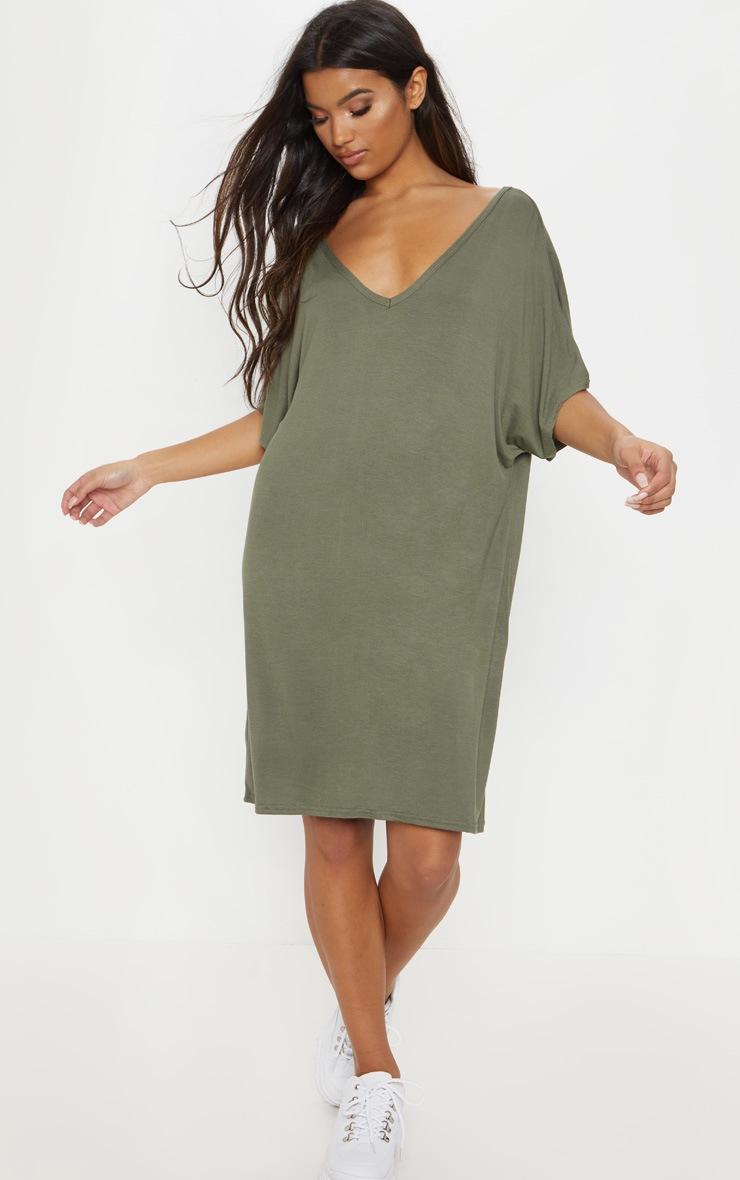 Basic Khaki V Neck T Shirt Dress 2
