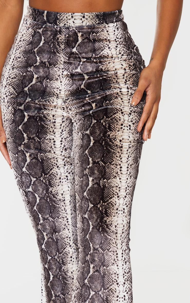 Shape Taupe Velvet Snake Print Flared Pants 5