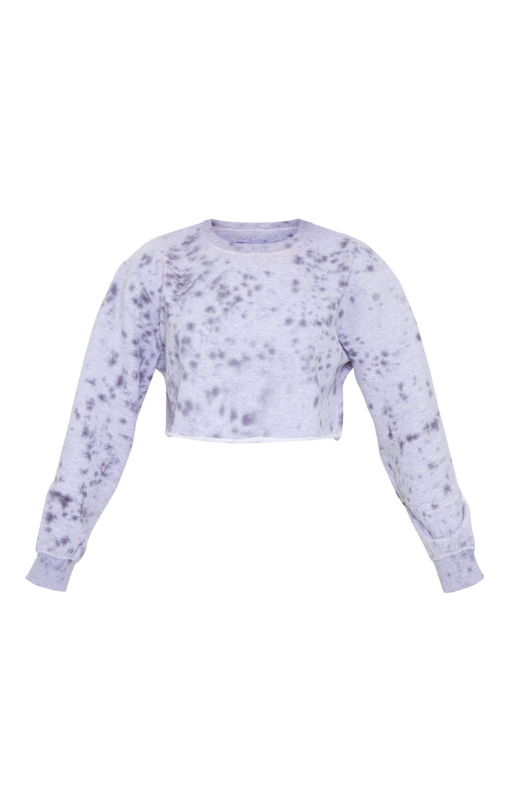 Petite Grey Acid Wash Paint Splatter Cropped Sweat 5
