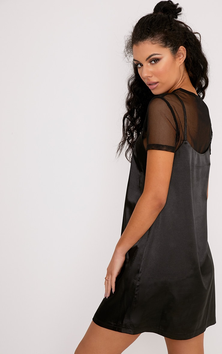 Miah Black Satin 2in1 Cami Dress 2