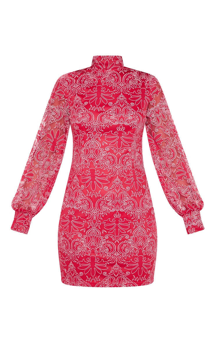 Red Flocked Lace Long Sleeve Bodycon Dress 3