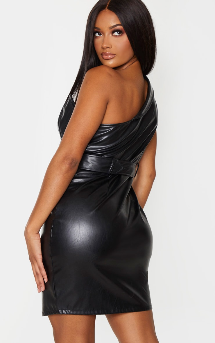 Shape - Robe moulante en similicuir noir à épaule unique 2