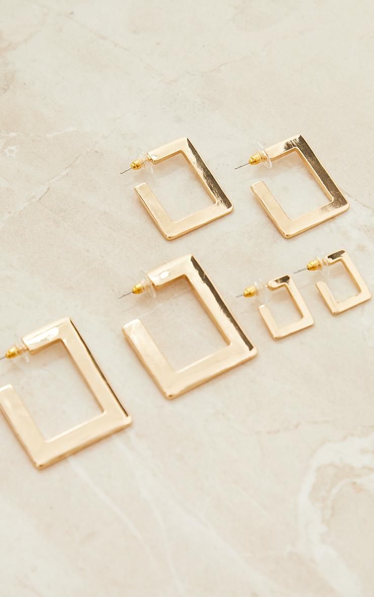 Gold 3 Pack Square Hoop Earrings 3