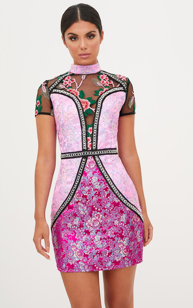Premium Pink Jacquard Embroidered Bodycon Dress 2