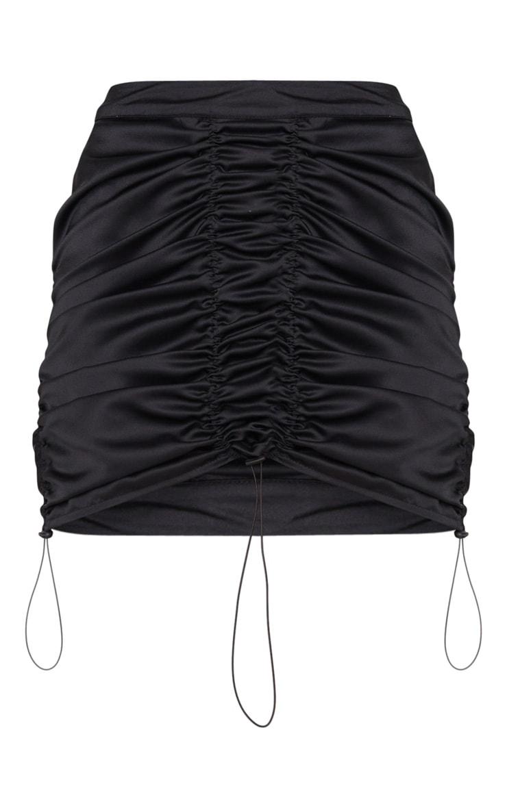 Black Satin Ruched Detail Toggle Mini Skirt 7