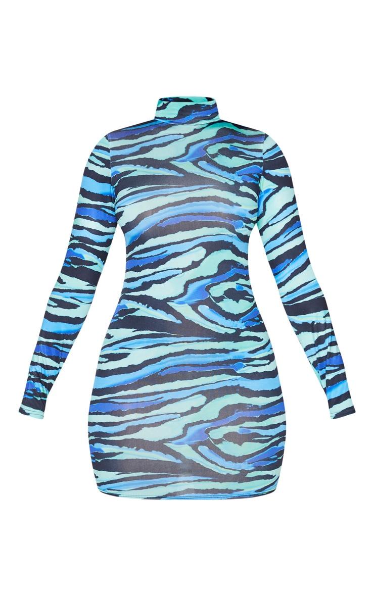 Blue Abstract Print Slinky High Neck Long Sleeve Bodycon Dress 5