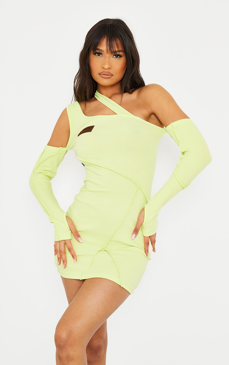 PRETTYLITTLETHING Lime Rib Binding Detail Cold Shoulder Bodycon Dress 3