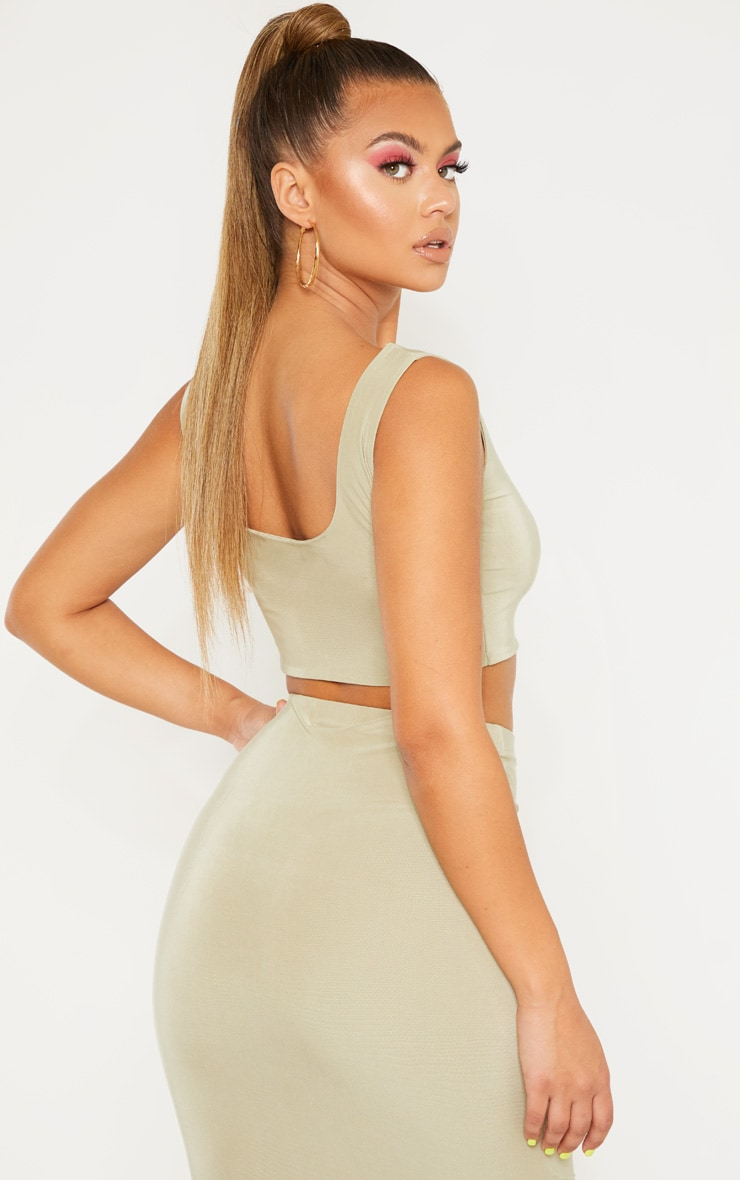 Sage Green Slinky Round Neck Sleeveless Crop Top 2