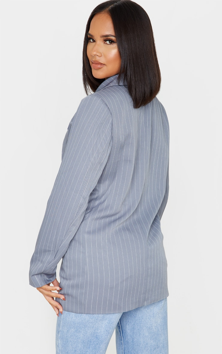 Grey Oversized Pinstripe Woven Blazer 2
