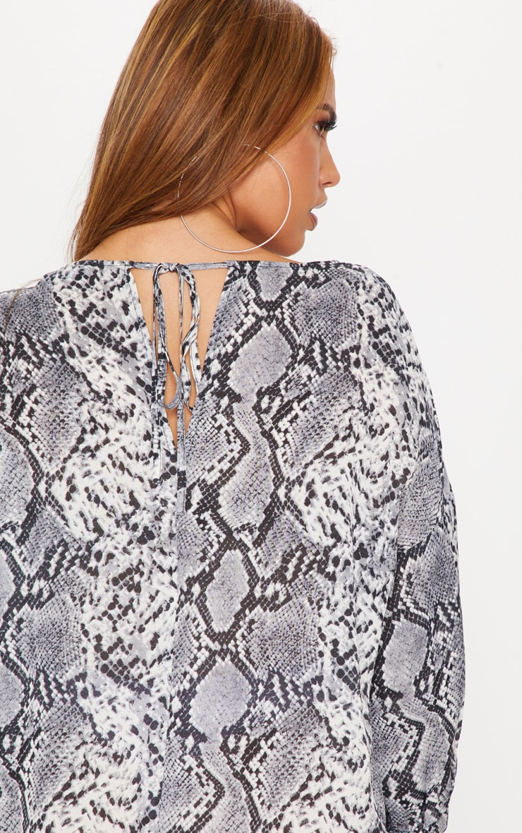 Plus Grey Snake Print Long Sleeve Shift Dress 5