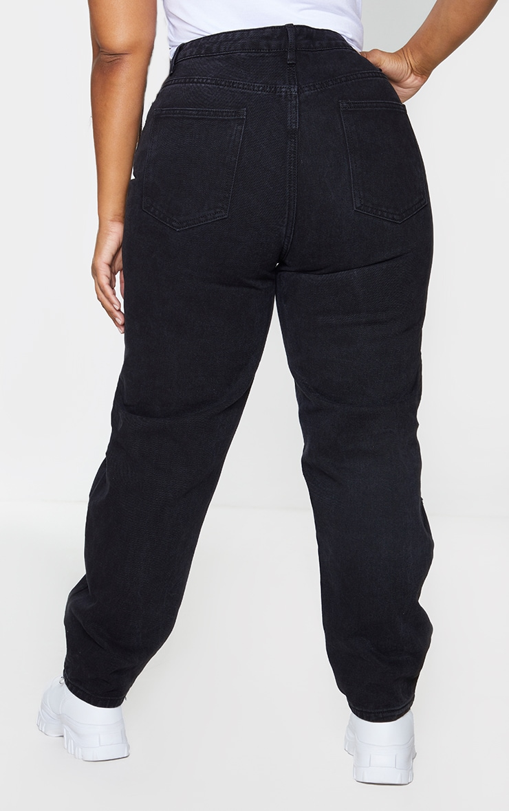 PRETTYLITTLETHING Plus Washed Black Knee Rip Mom Jeans 3