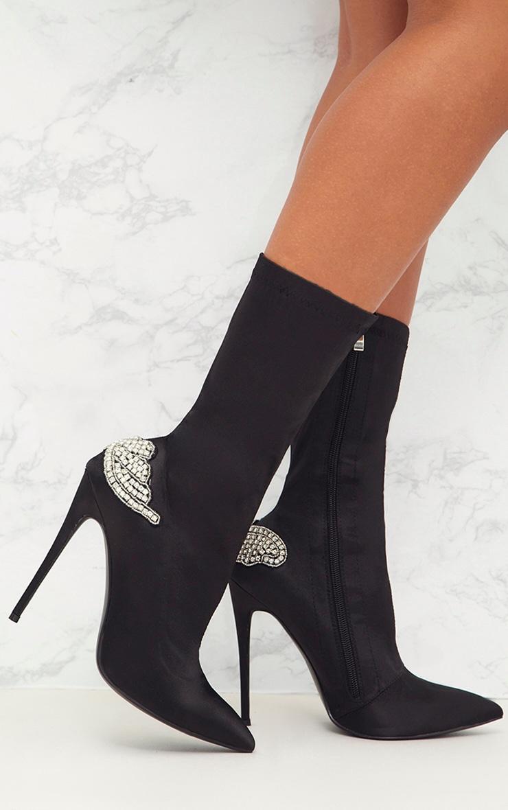 Black Satin Diamante Detail Heeled Ankle Boots 1