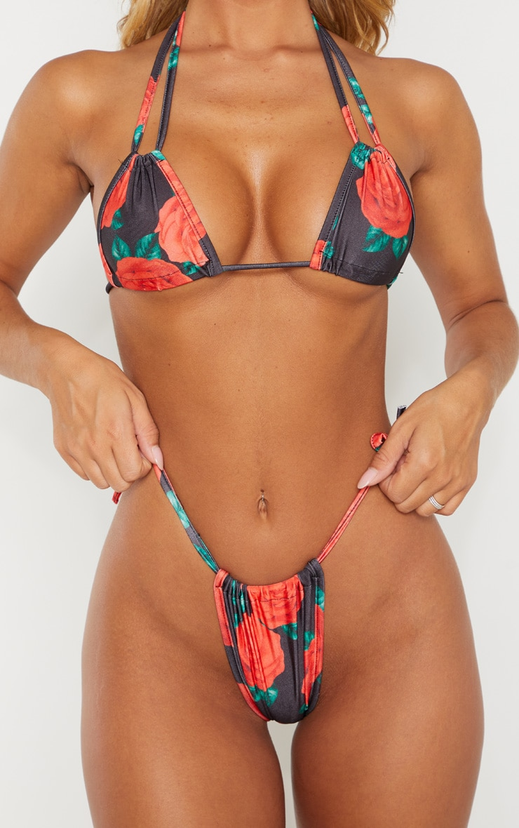 Rose Print Mini Ruched Tie Side Bikini Bottom 5