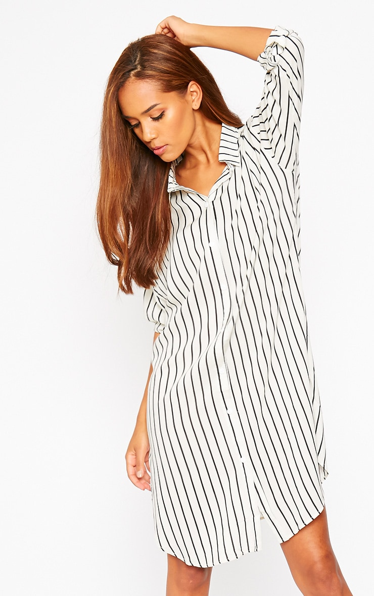 Bria Cream Stripe Shirt Dress 4