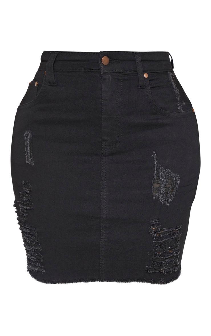 Shape - Jupe en jean noir déchiré à taille haute 3