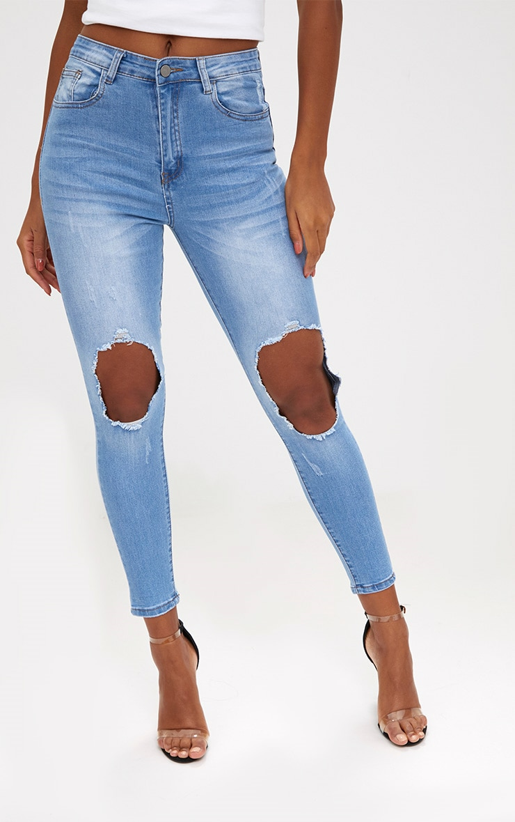 Light Wash Open Knee Skinny Jean 2