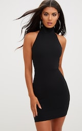 03d548f12c90e Black Lace Up Back Extreme High Neck Detail Bodycon Dress image 2
