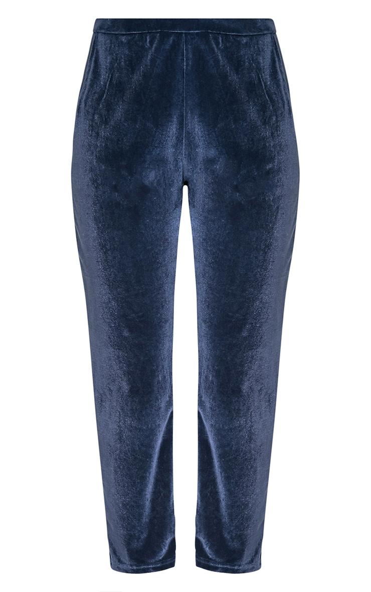 Tasmine pantalon cigarette bleu en velours 5