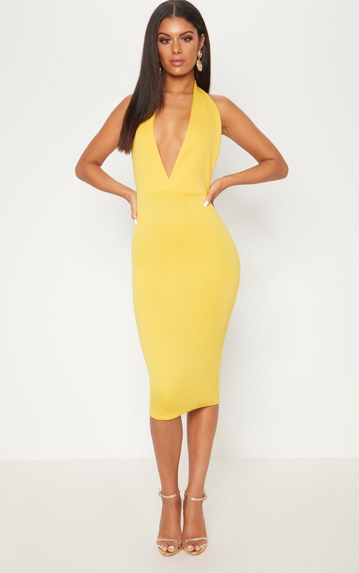 Bright Yellow Halterneck Open Back Midi Dress 1