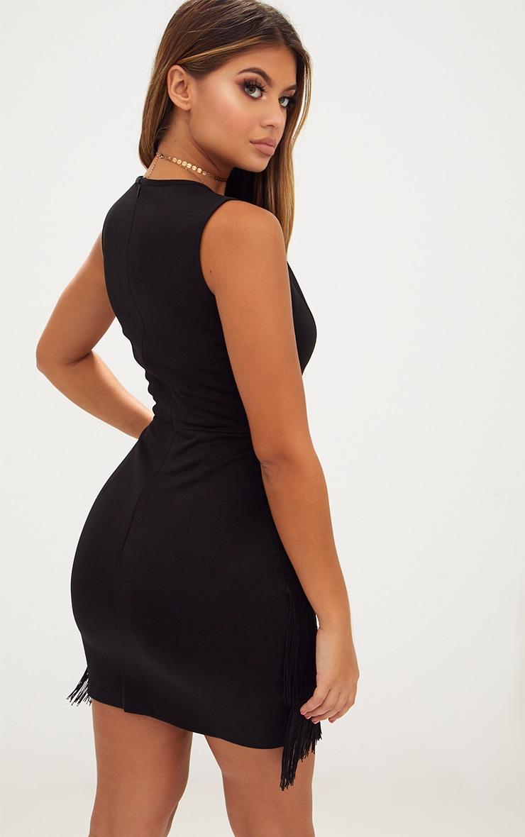 Black Plunge Tassel Skirt Bodycon Dress  2