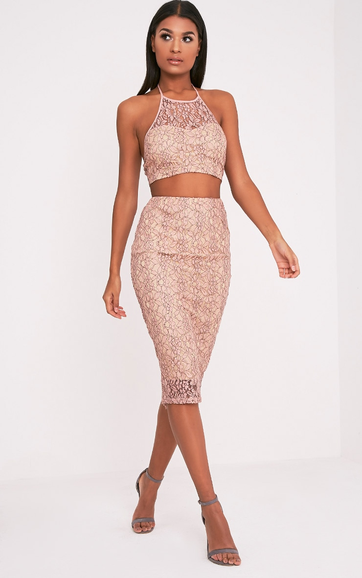 Joy Nude Lace Midi Skirt 1