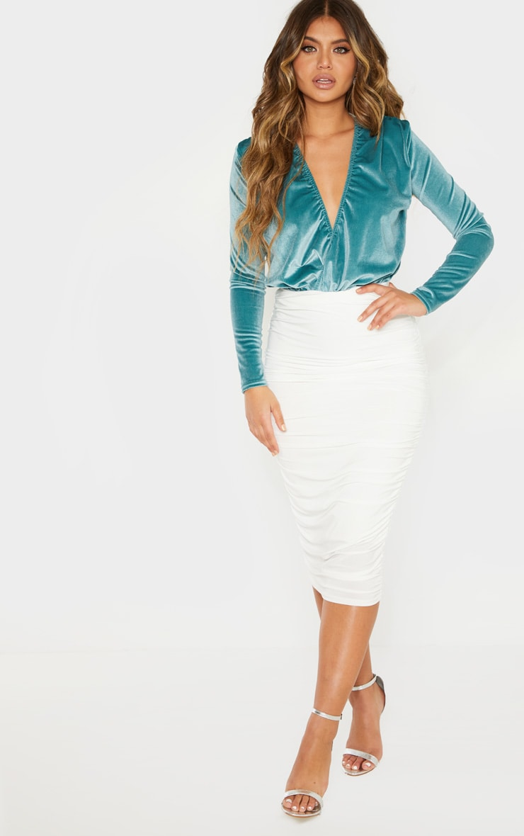 Mint Long Sleeve Plunge Velvet Bodysuit 3
