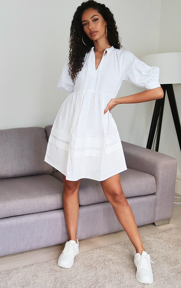White Woven Tie Front Smock Dress 3