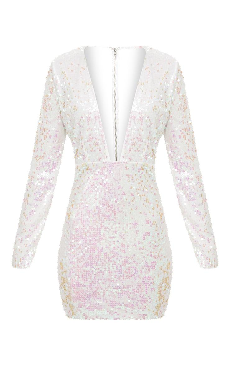 White Plunge Sequin Bodycon Dress 3