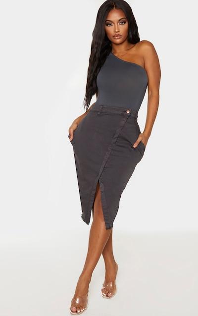 Shape Charcoal Wrap Denim Midi Skirt