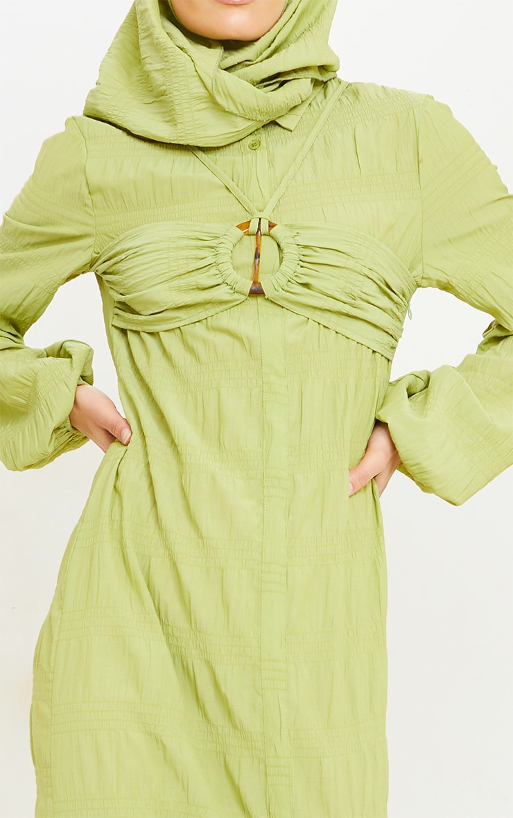 Olive Crinkle Woven Bust Strap Detail Long Sleeve Maxi Shirt Dress 5
