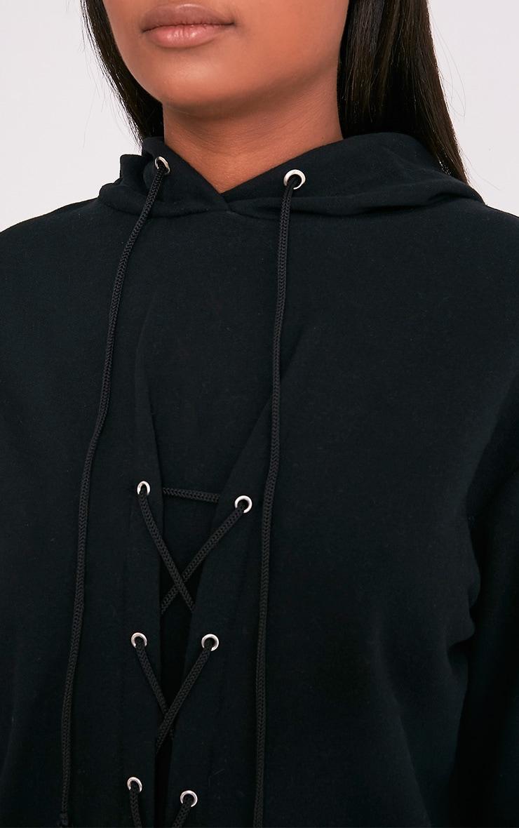 Bexie robe sweat noire à lacets et à capuche 7