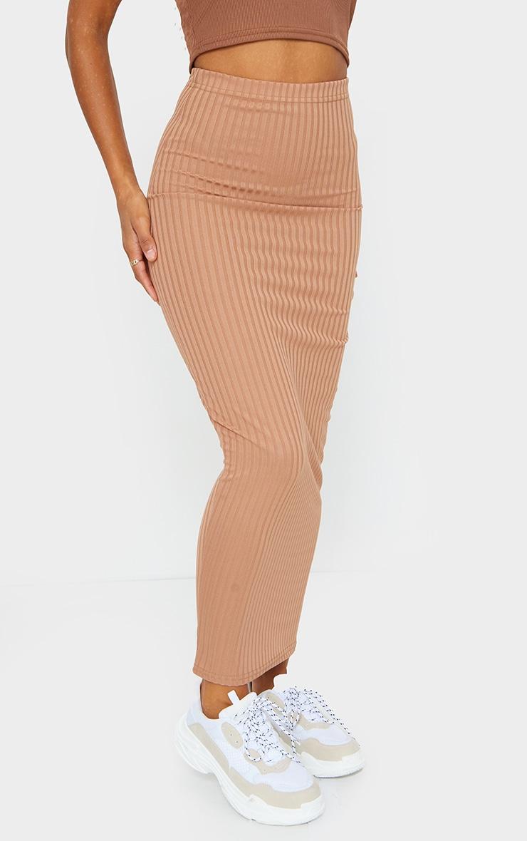 Camel Rib Bodycon Maxi Skirt 2