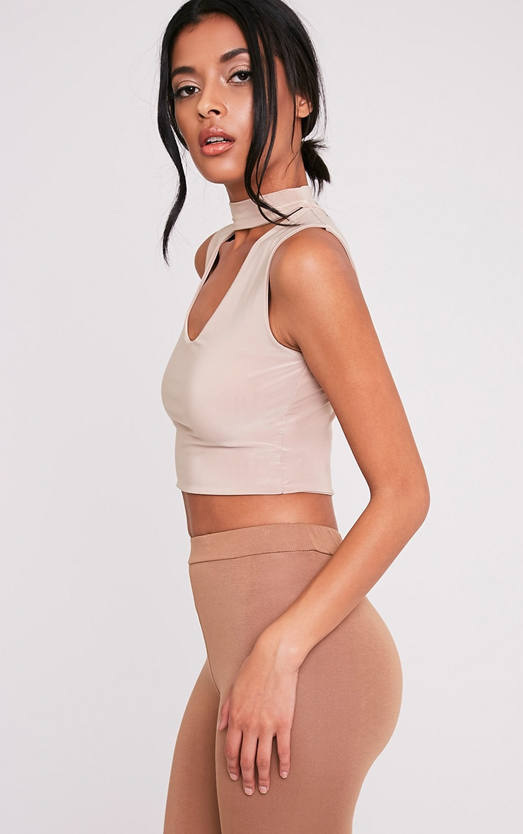 Melrose Nude Cut Out Neck Slinky Crop Top 4