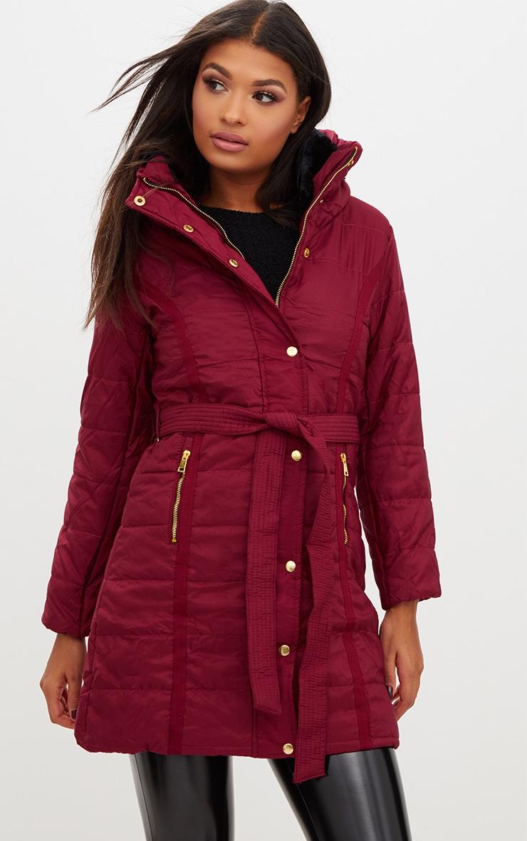 Burgundy Longline Belted Puffer Coat 1