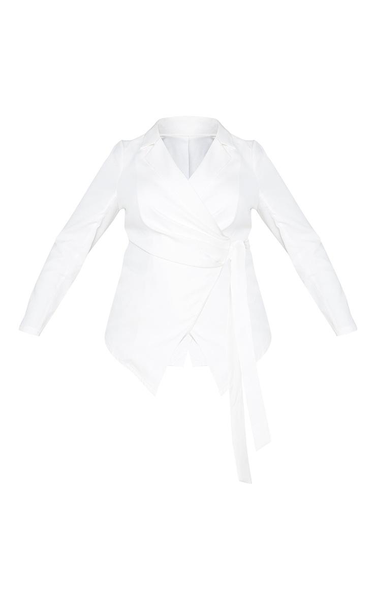 Plus White Draped Front Tie Detail Blazer 6