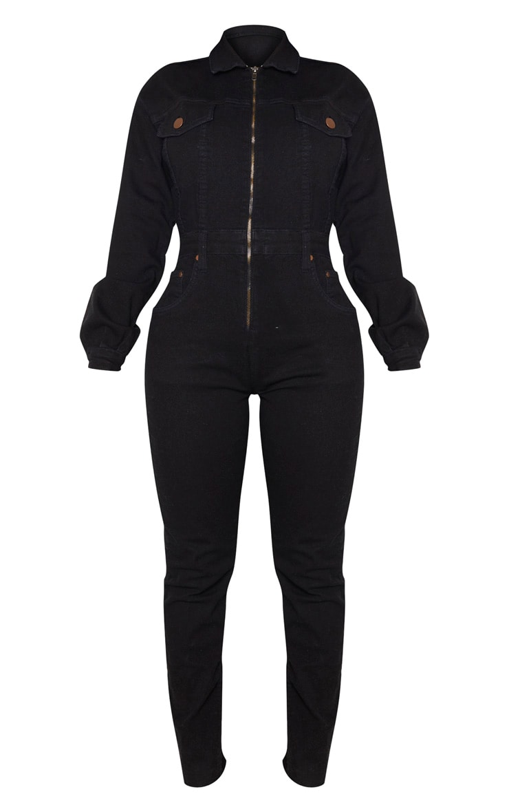 Shape Black Denim Zip Front Jumpsuit 3