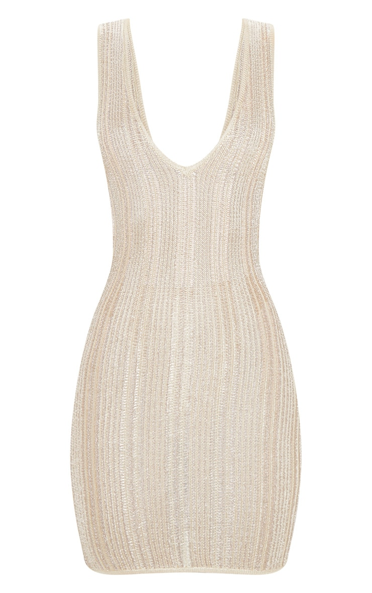 Gold Striped Metallic Knitted Dress  3
