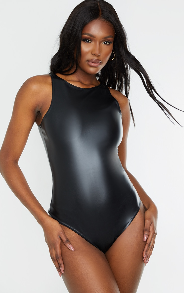Tall Black PU Racer Bodysuit 2