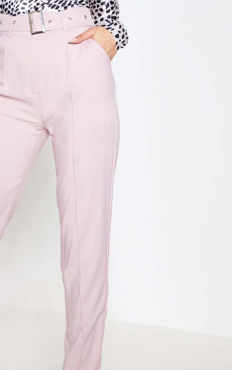 Dusty Pink Belted Tailored Trousers 6