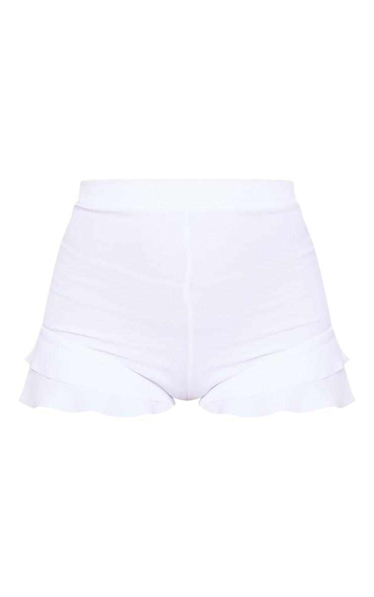 White Ruffle Detail Hot Pant Short 6