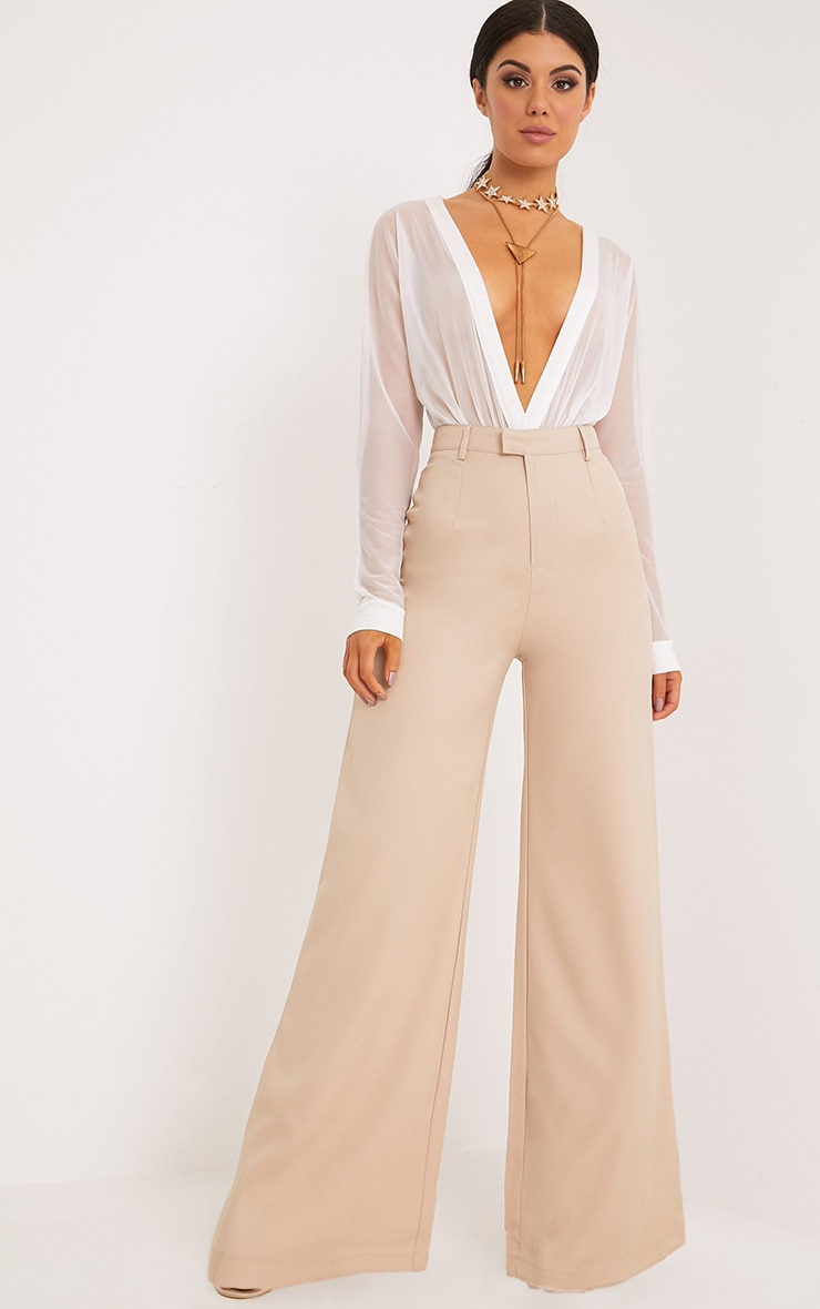 Reemah Stone Wide Leg Trousers  1
