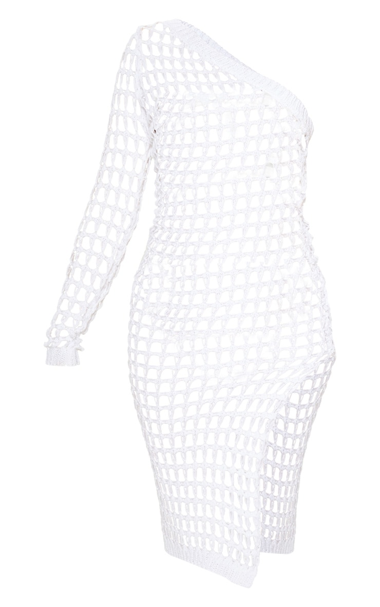 White Ladder Crochet Asymmetric Dress 3