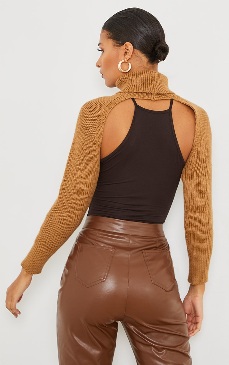 Camel Super Crop Knitted Sleeves 2