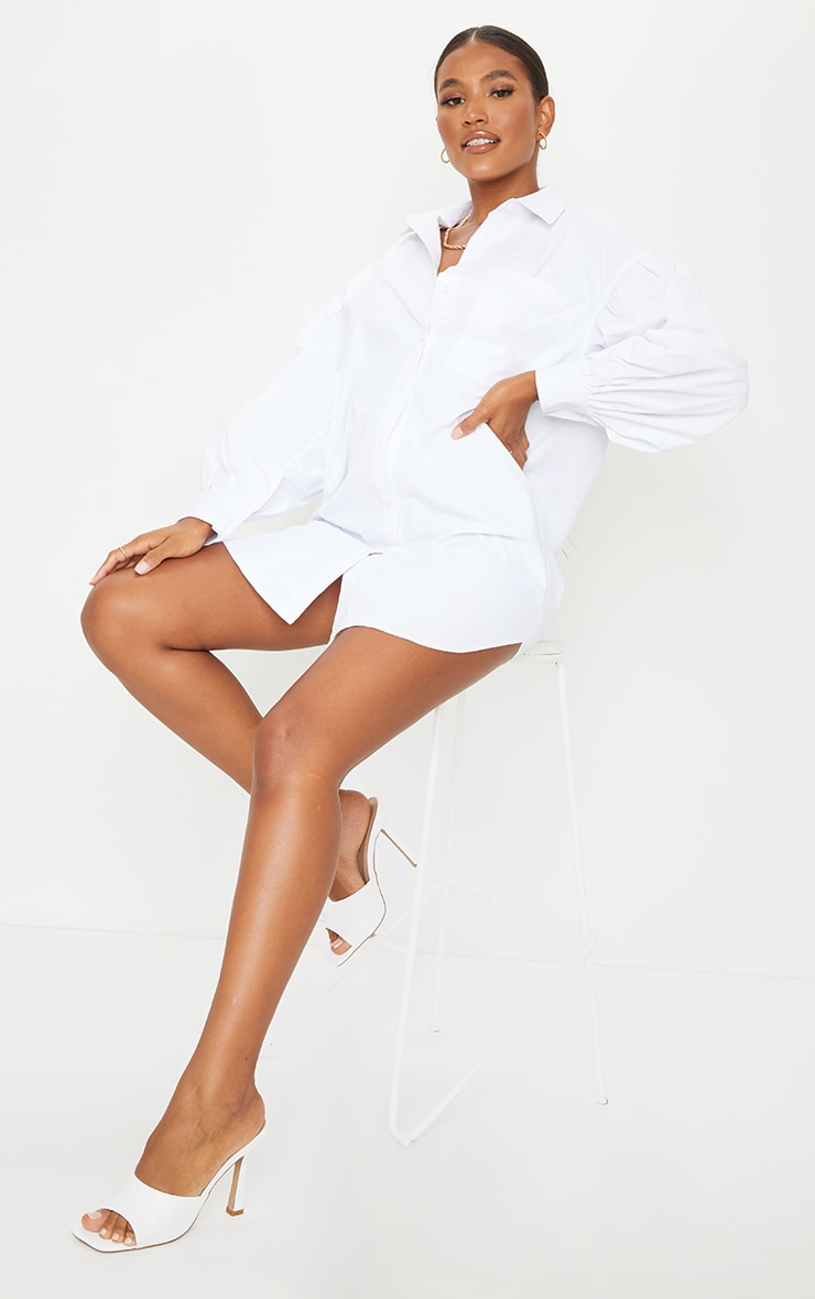 White Pleated Puff Sleeve Shirt Dress 3