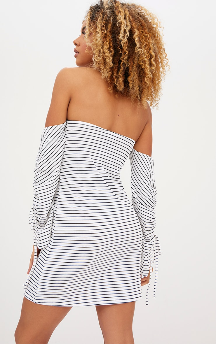 White Striped Ruched Sleeve Shift Dress 2