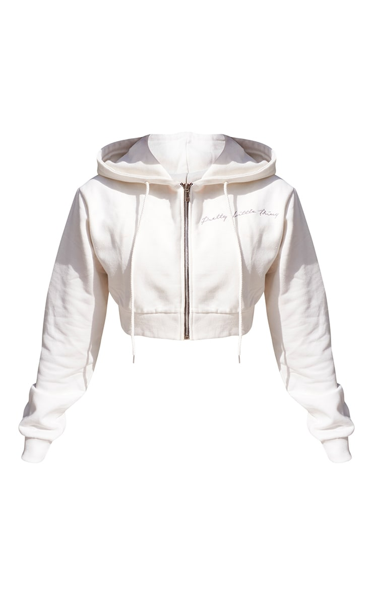 PRETTYLITTLETHING Cream Cropped Embroidered Zip Hoodie 5