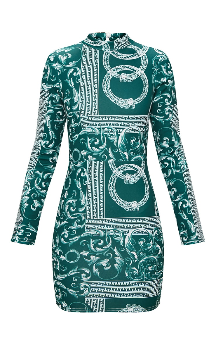 Emerald Green Long Sleeve High Neck Printed Backless Bodycon Dress 3