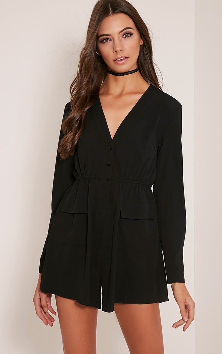 Tannie Black Pocket Detail Playsuit 1