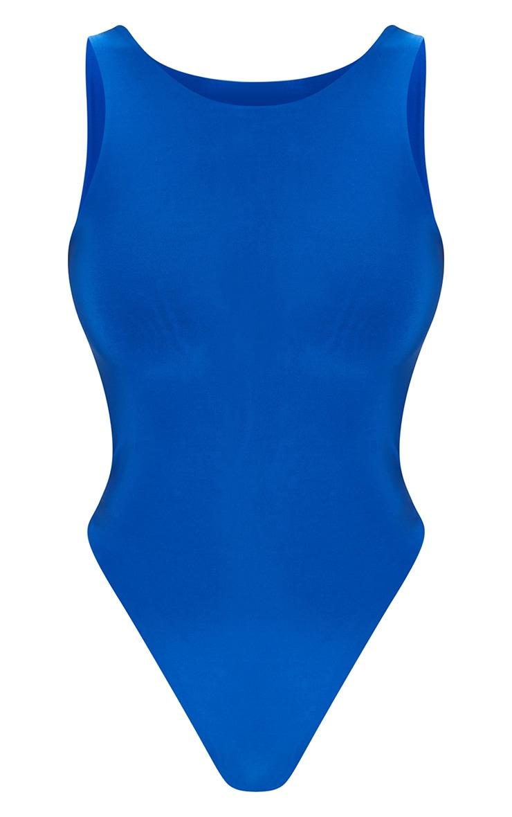 Bright Blue Slinky Racer Sleeveless Bodysuit 5