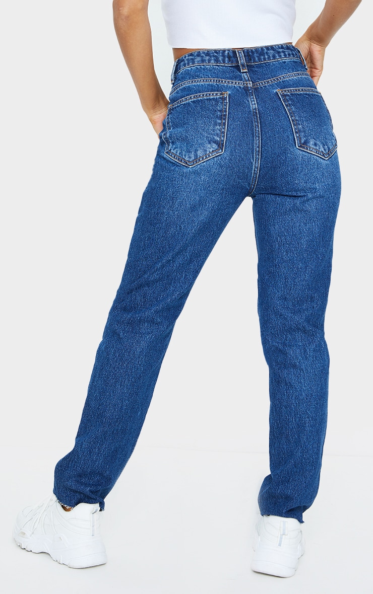 Mid Blue Wash High Waisted Straight Leg Jeans 3